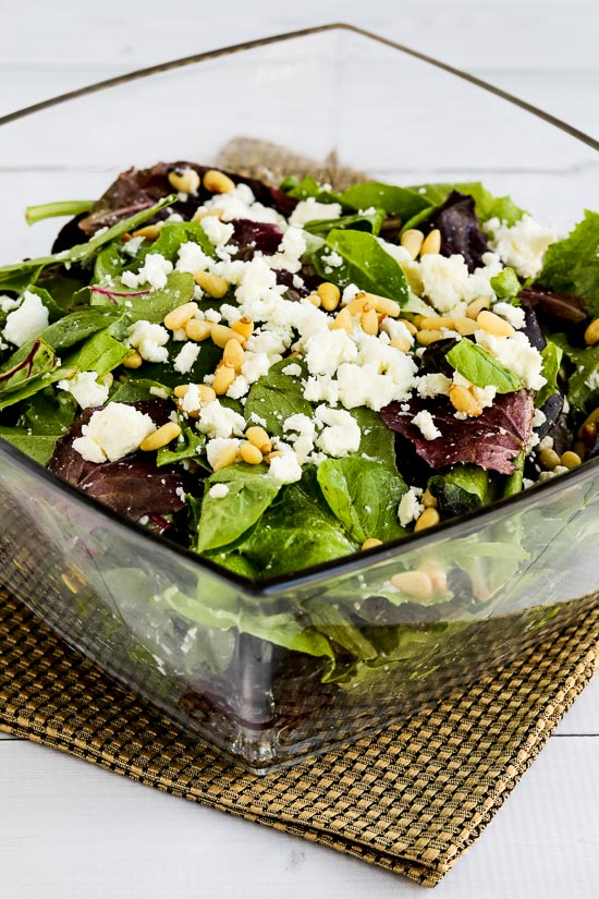 Mary's Spring Mix Salad with Feta and Pine Nuts found on KalynsKitchen.com