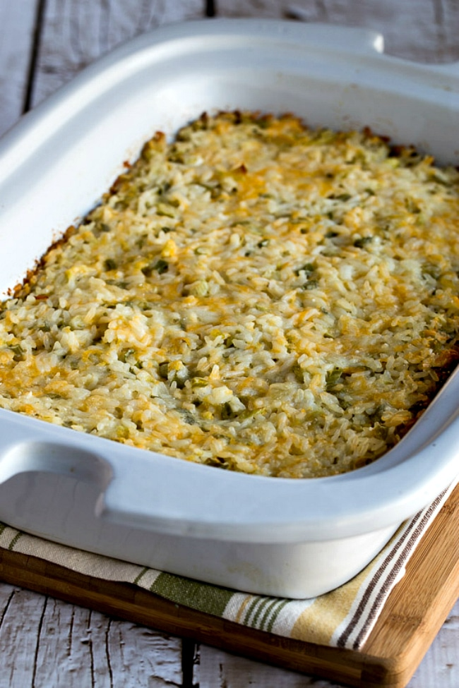 Slow Cooker Rice Casserole with Green Chiles and Cheese close-up photo
