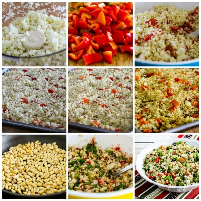 Roasted Cauliflower Rice with Red Pepper, Green Onion, Parmesan, and Pine Nuts process shots collage