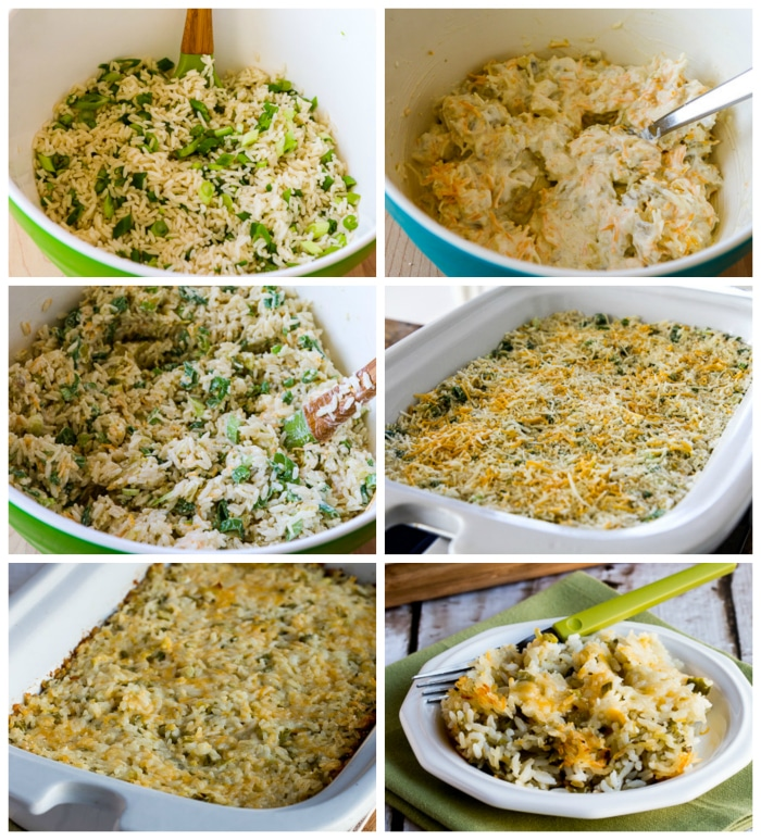 Slow Cooker Rice Casserole with Green Chiles and Cheese process shots collage