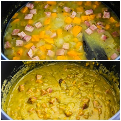 Instant Pot Split Pea Soup with Ham and Sweet Potatoes found on KalynsKitchen.com