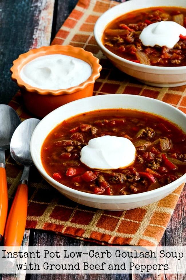 Instant Pot Low-Carb Goulash Soup with Ground Beef and Peppers title photo