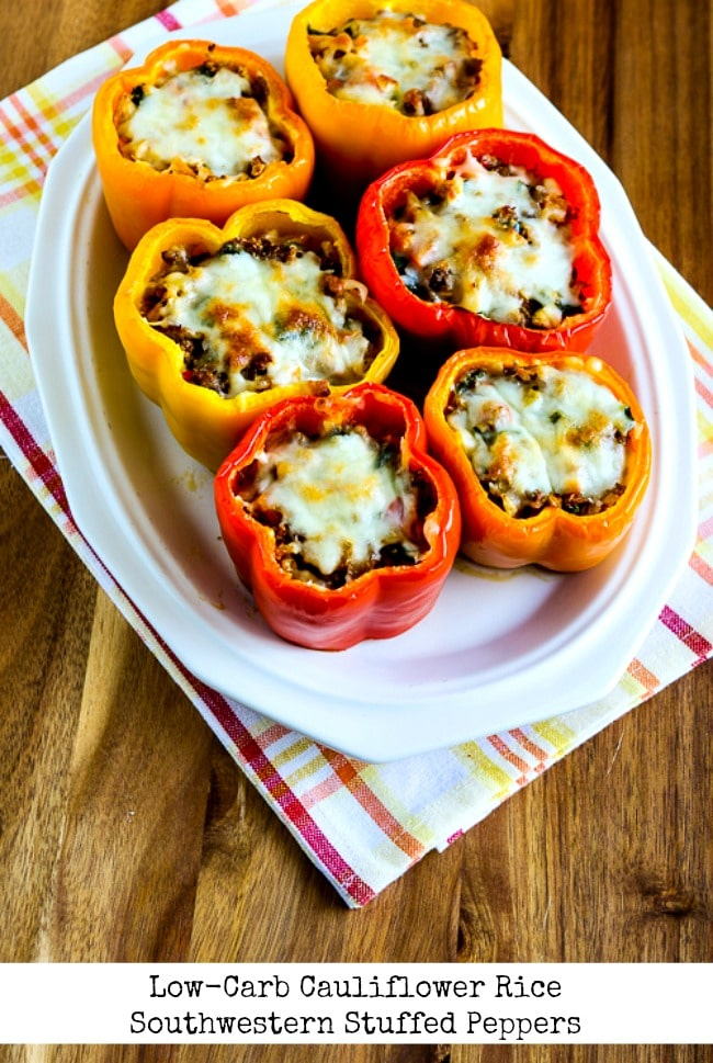 Low-Carb Cauliflower Rice Southwestern Stuffed Peppers title photo