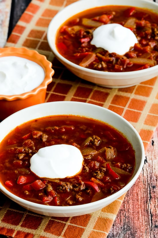 Instant Pot Low-Carb Goulash Soup with Ground Beef and Peppers found on KalynsKitchen.com