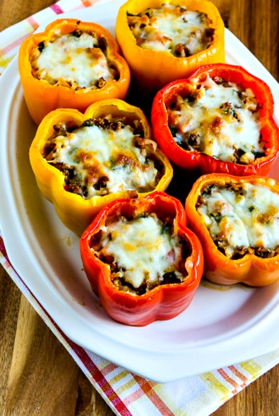 Low-Carb Cauliflower Rice Southwestern Stuffed Peppers close-up photo