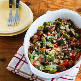 Low-Carb No Egg Breakfast Bake with Sausage and Peppers found on KalynsKitchen.com