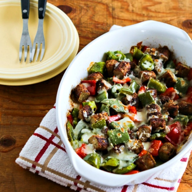 Low-Carb No Egg Breakfast Bake with Sausage and Peppers close-up photo thumbnail photo