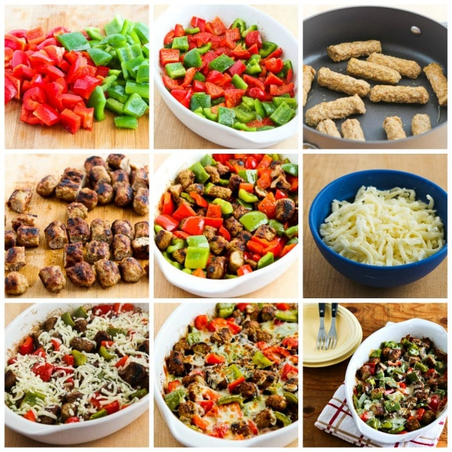 Low-Carb No Egg Breakfast Bake with Sausage and Peppers process shots collage