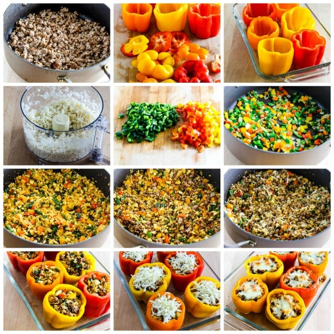 Low-Carb Cauliflower Rice Southwestern Stuffed Peppers process shots collage