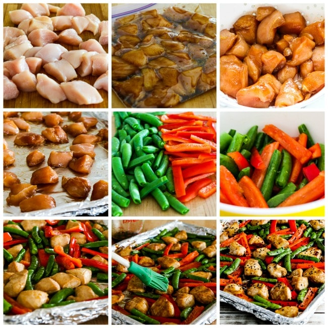 Low-Carb Chicken Stir-Fry Sheet Pan Meal process photo collage