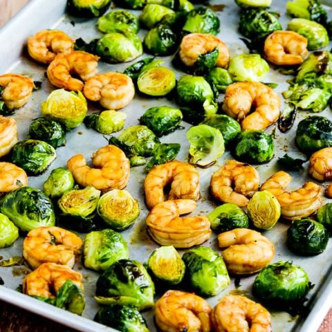 Low-Carb Roasted Asian Shrimp and Brussels Sprouts Sheet Pan Meal