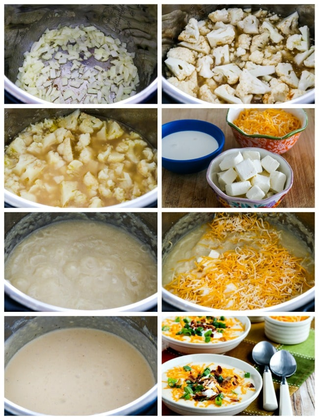 collage photo for Instant Pot Low-Carb Loaded Cauliflower Soup