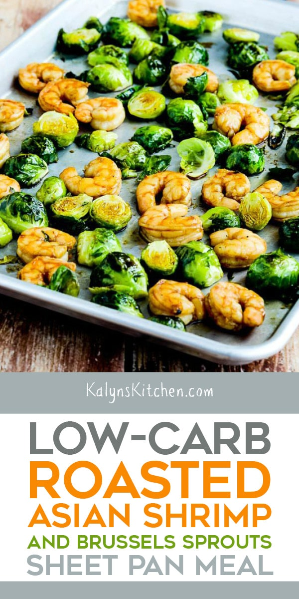 Pinterest image of Low-Carb Roasted Asian Shrimp and Brussels Sprouts Sheet Pan Meal