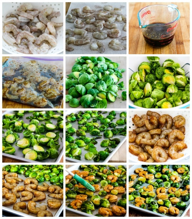 Low-Carb Roasted Asian Shrimp and Brussels Sprouts Sheet Pan Meal process shots collage