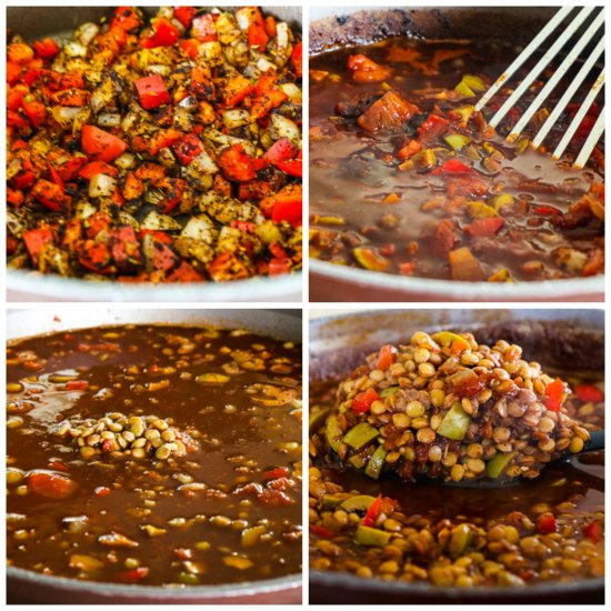 Vegan Picadillo Lentil Stew with Peppers and Green Olives found on KalynsKitchen.com.