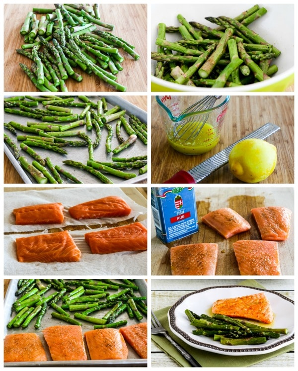 Roasted Lemon Salmon and Asparagus Sheet Pan Meal process shots collage