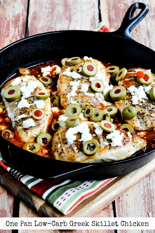 One Pan Low-Carb Greek Skillet Chicken title photo