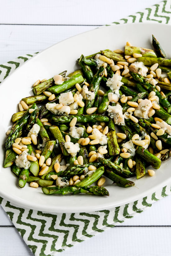 Sauteed Asparagus with Melted Gorgonzola and Pine Nuts found on KalynsKitchen.com.