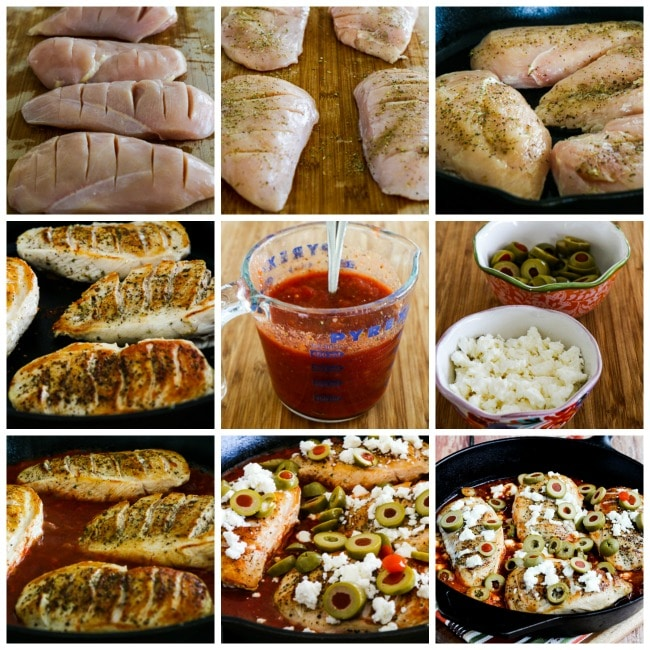 One Pan Low-Carb Greek Skillet Chicken process shots collage