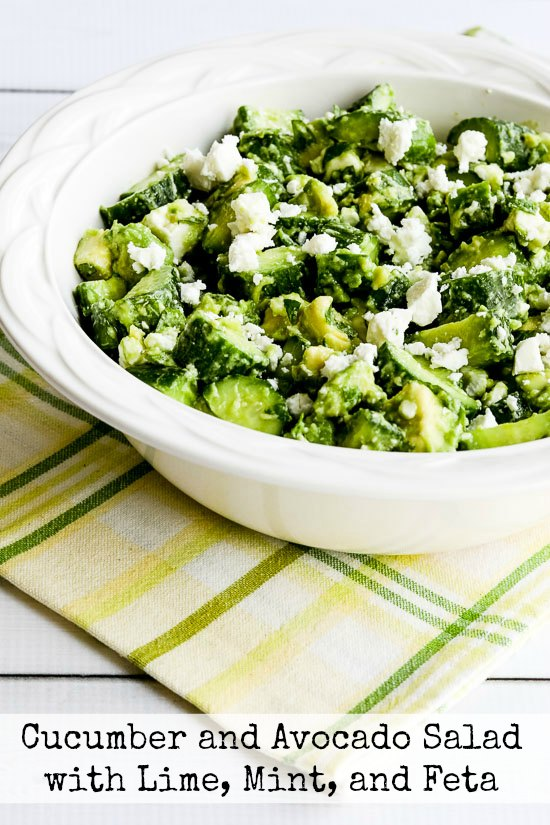Cucumber and Avocado Salad with Lime, Mint, and Feta [found on KalynsKitchen.com]