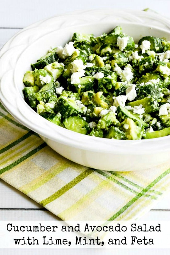 Cucumber and Avocado Salad with Lime, Mint, and Feta top photo of salad in bowl with text overlay