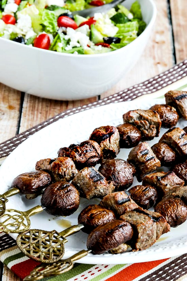 close-up photo of Low-Carb Steak and Mushroom Kabobs on serving plate