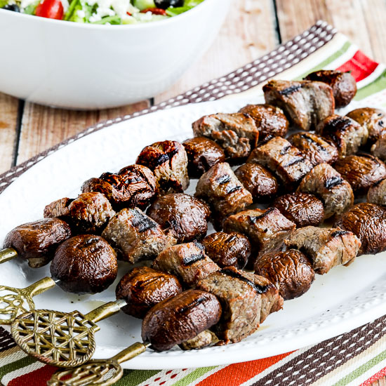 Low-Carb Steak and Mushroom Kabobs found on KalynsKitchen.com