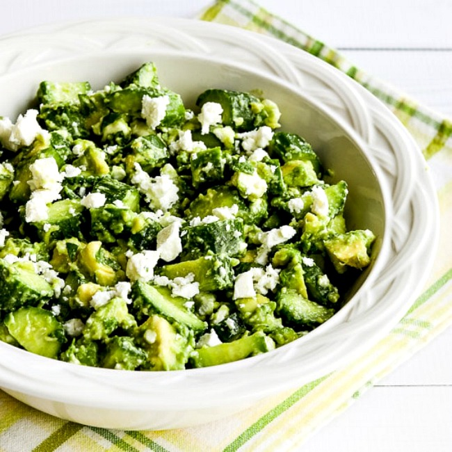 Cucumber and Avocado Salad with Lime, Mint, and Feta square thumbnail image of finished salad in bowl