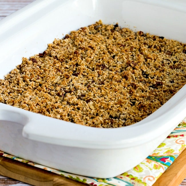 square thumbnail image of Slow Cooker Blueberry Crisp in slow cooker casserole crock