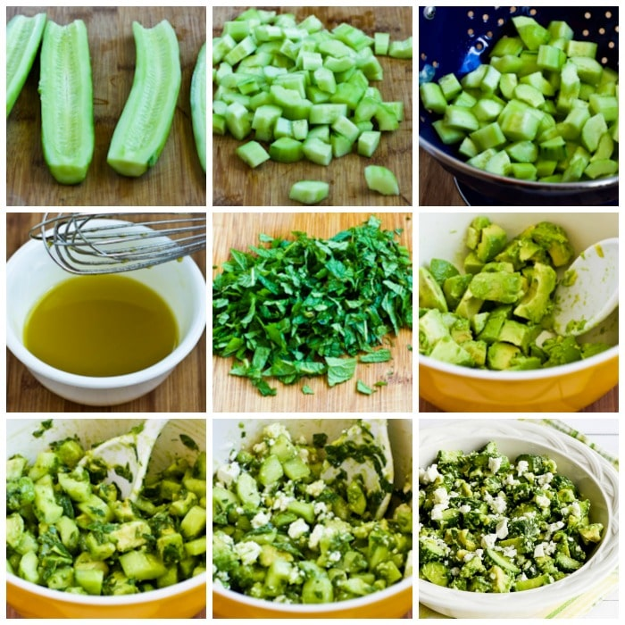 Cucumber and Avocado Salad with Lime, Mint, and Feta process shots collage