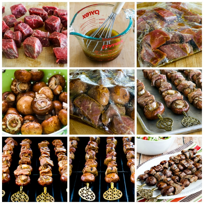 Low-Carb Steak and Mushroom Kabobs process shots collage