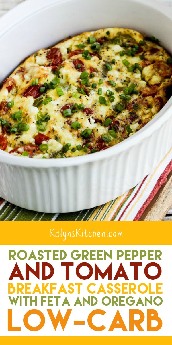 Pinterest image of Roasted Green Pepper and Tomato Breakfast Casserole with Feta and Oregano