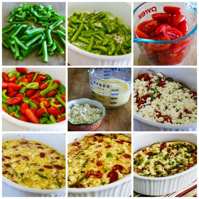 Roasted Green Pepper and Tomato Breakfast Casserole with Feta and Oregano process shots collage