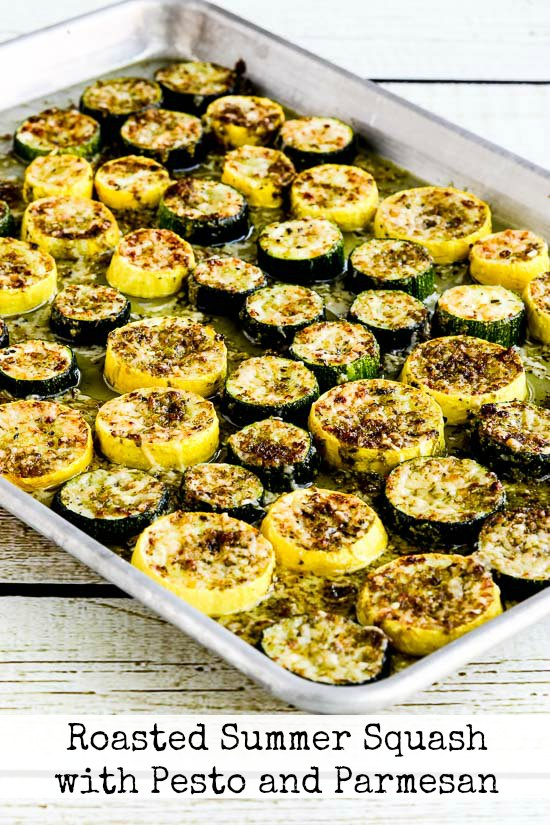 Roasted Summer Squash with Pesto and Parmesan