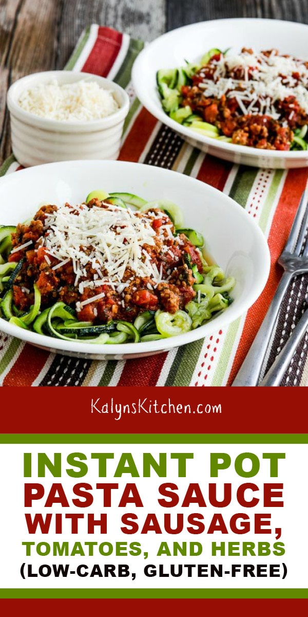 Pinterest image of Instant Pot Pasta Sauce with Sausage, Tomatoes, and Herbs