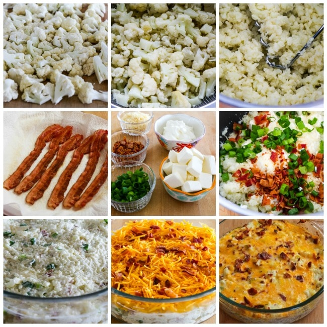 Low-Carb Twice-Baked Cauliflower process shots collage