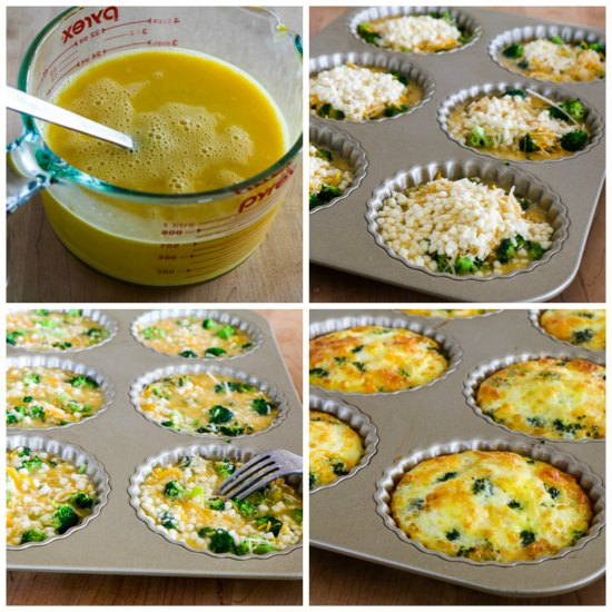 Low-Carb Baked Mini-Frittatas with Broccoli and Three Cheeses found on KalynsKitchen.com