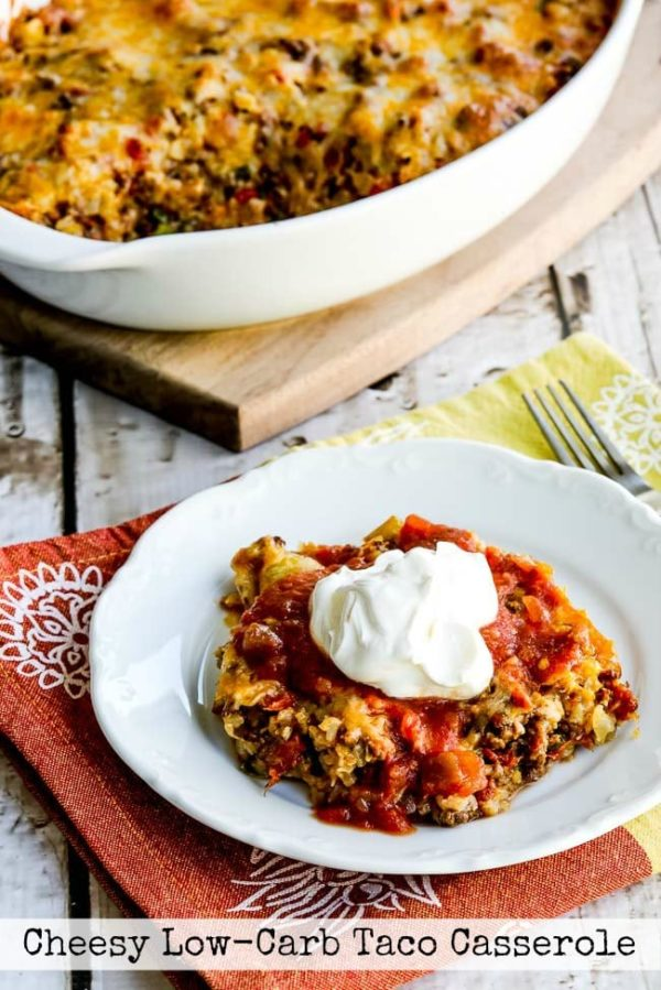 Cheesy Low-Carb Taco Casserole found on KalynsKitchen.com