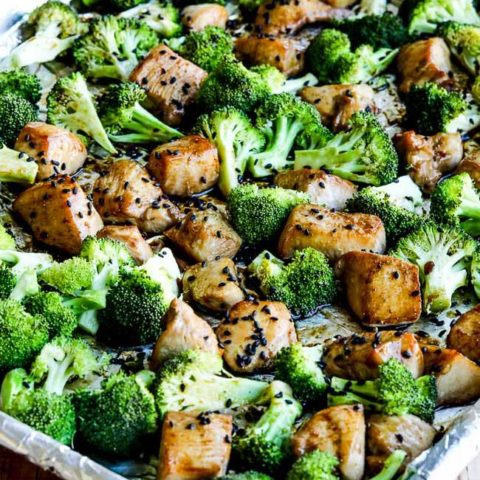 Low Carb Sesame Chicken And Broccoli Sheet Pan Meal Video