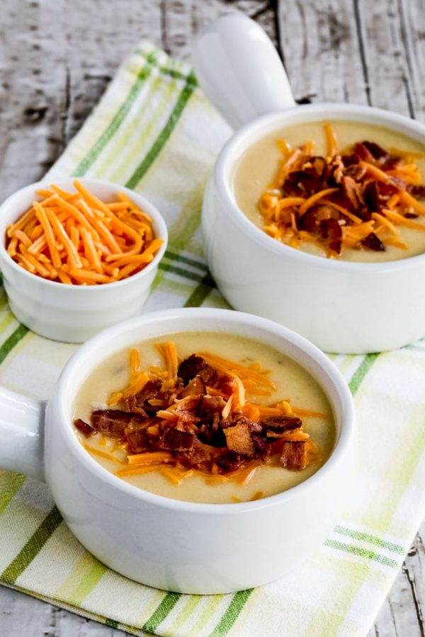 Low-Carb Cheesy Cauliflower Soup with Bacon and Green Chiles (Instant Pot (or Stovetop) found on KalynsKitchen.com