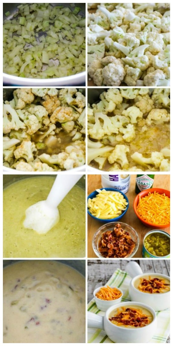 Instant Pot Low-Carb Cheesy Cauliflower Soup with Bacon and Green Chiles process shots collage