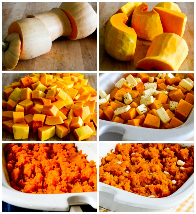Slow Cooker Buttery Butternut Squash for a Crowd process shots collage