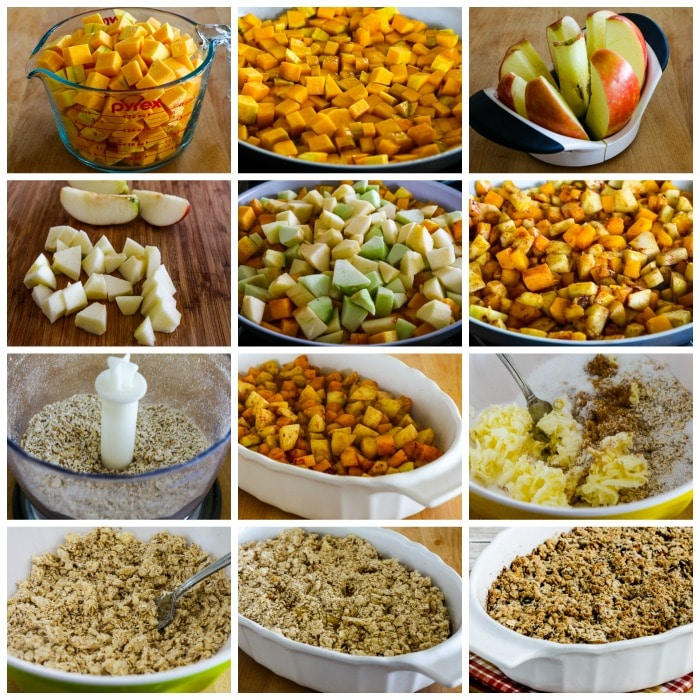 Low-Sugar Pumpkin and Apple Crumble process shots collage