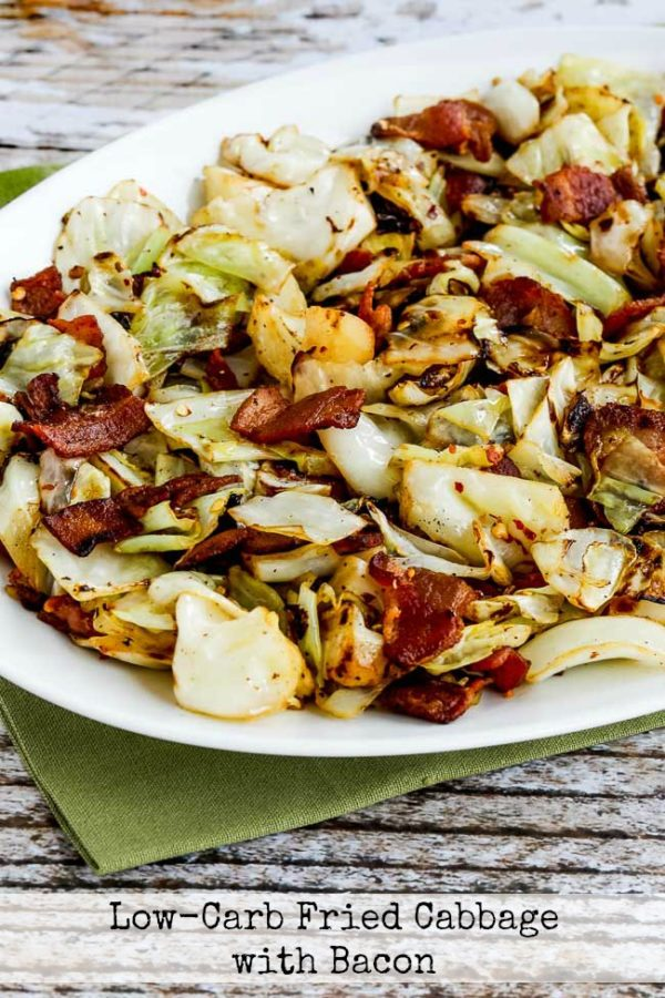 Low-Carb Fried Cabbage with Bacon found on KalynsKitchen.com