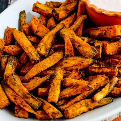 Air Fryer Spicy Sweet Potato Fries found on KalynsKitchen.com