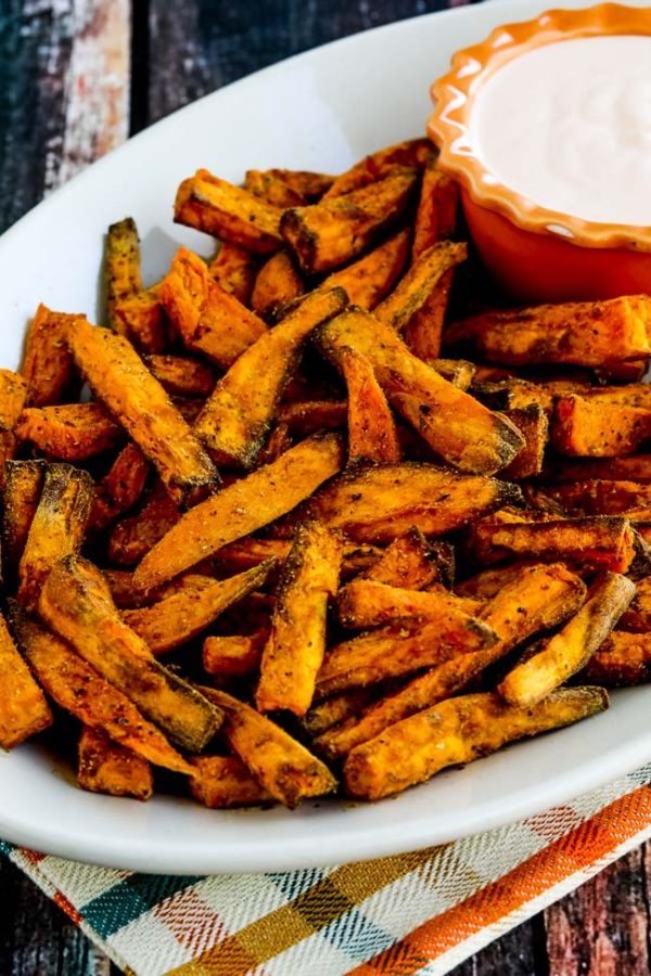 Air Fryer Spicy Sweet Potato Fries found on KalynsKitchen.com