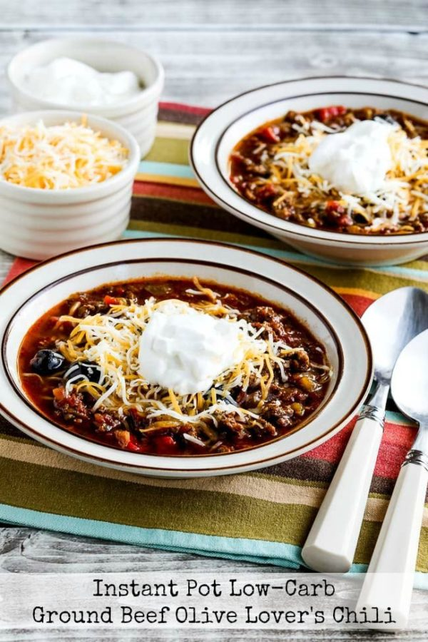Instant Pot Low-Carb Olive Lover's Ground Beef Chili found on KalynsKitchen.com