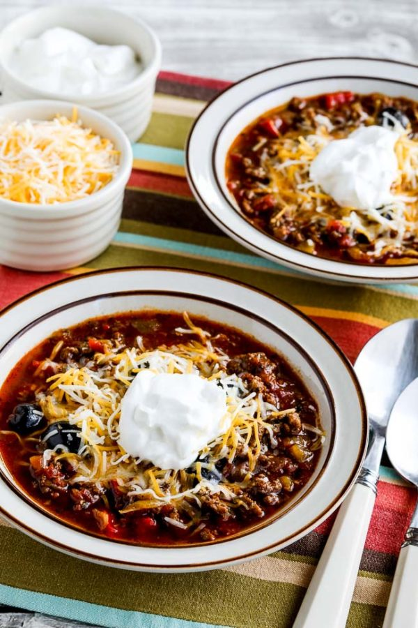 Instant Pot Low-Carb Ground Beef Olive Lover's Chili found on KalynsKitchen.com