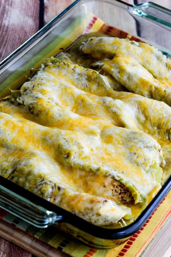 Low-Carb Twice-Cooked Chicken with Green Chiles and Cheese found on KalynsKitchen.com