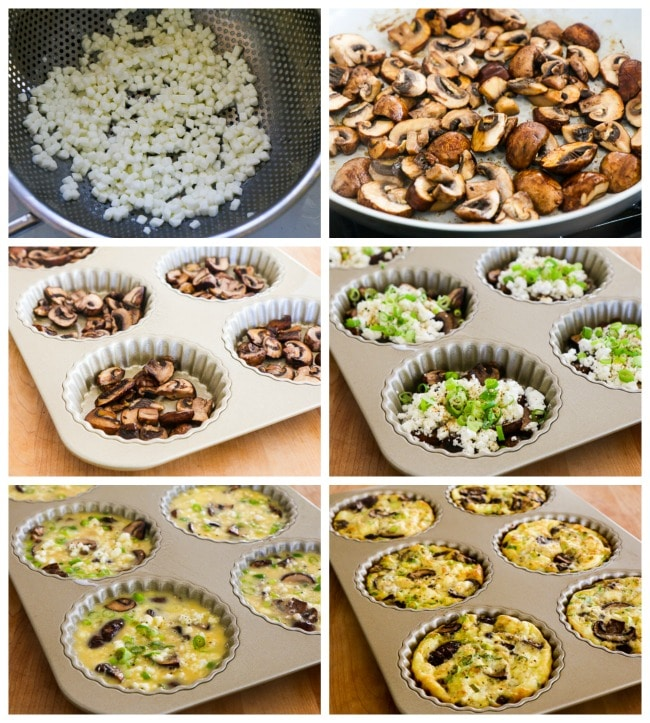 Baked Mini-Frittatas with Mushrooms, Cottage Cheese, and Feta process shots collage